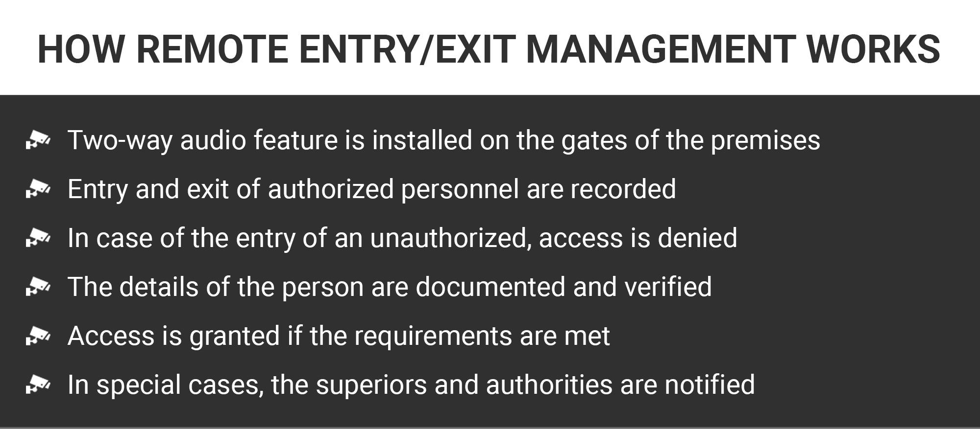 Remote Entry/Exit Management