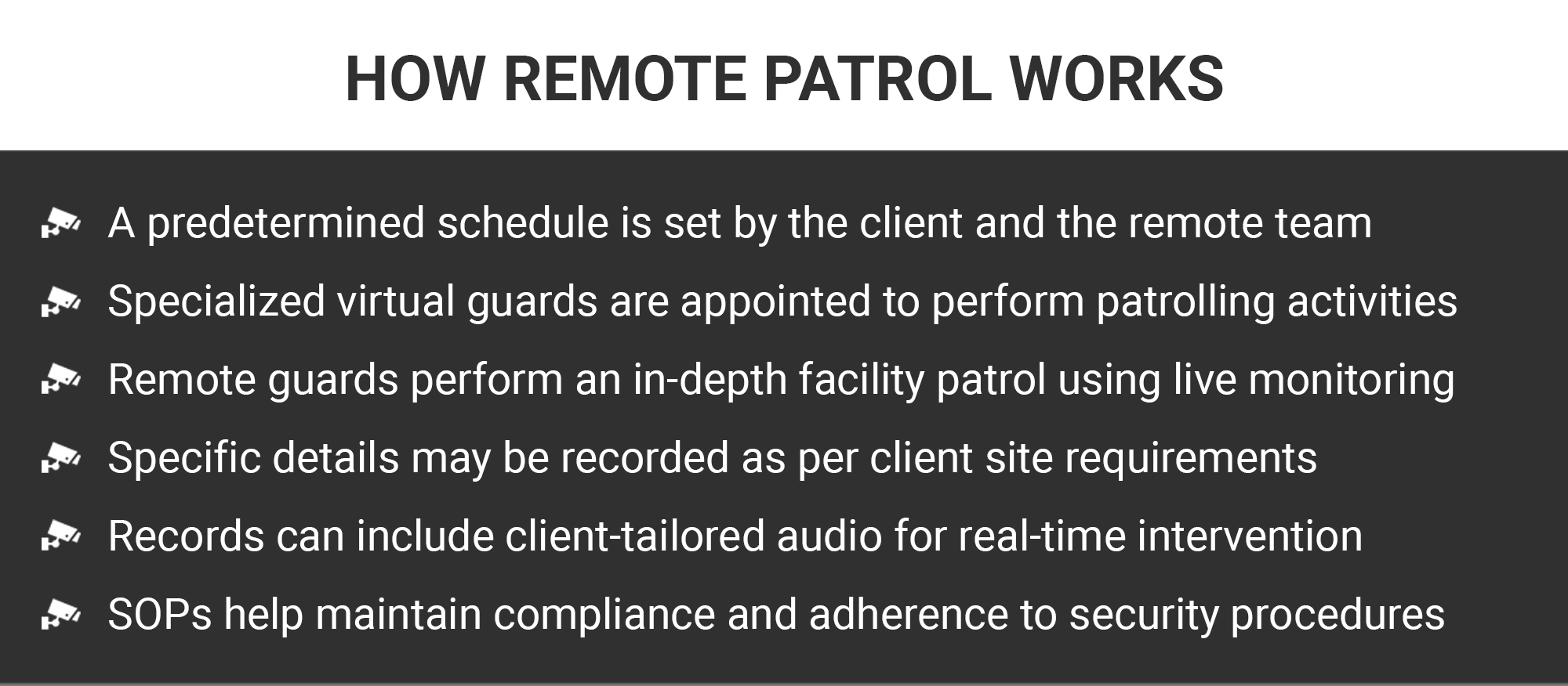 Using cameras to remotely patrol a client's site